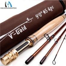 Maximumcatch V-GOLD 40T SK Carbon  9FT 4-8WT  4SEC  Fast Action Fly Fishing Rod  With  a Aluminium Tube Fly Rod