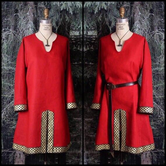Mens Linen Viking Horseback Tunic with Celtic Knotwork Trim Medieval Short Sleeve Shirt Renaissance Faire Male Tops(without Hat)      - title=
