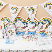 1set Unicorn theme birthday party blowout plates banner unicorn hat kids favors cups dishes