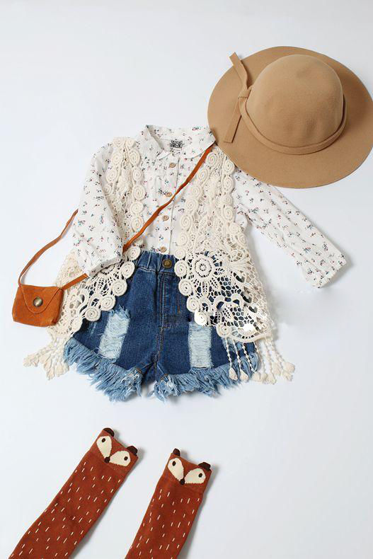 Toddler Kids Baby Girls Crochet Lace Hollow Cardigan Tops Vest Tassel Waistcoat