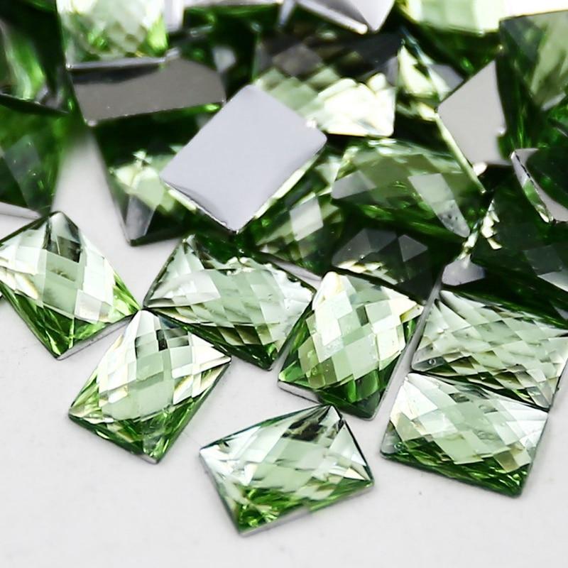 400 unids/lote 7x5mm Peridot rectángulo rhinestone, resina de ...