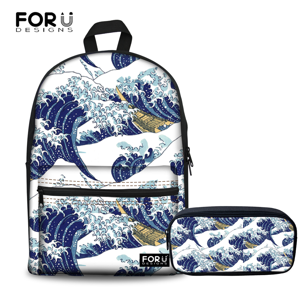 FORUDESIGNS Large Backpack Women Children Schoolbag Great Wave Pattern Back Pack 2018 Kn ...
