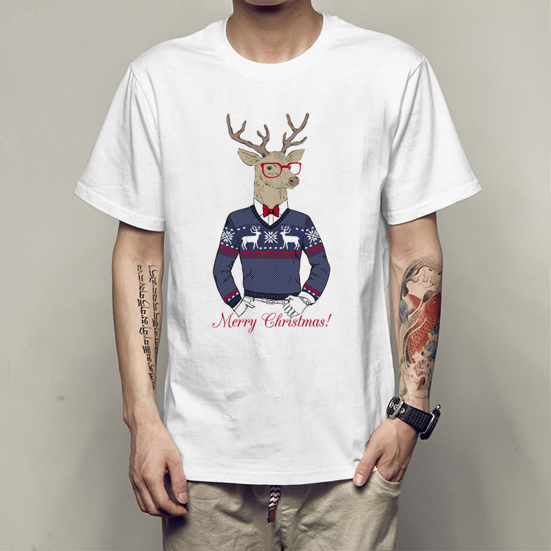 CostumeBuy Christmas Costume Christmas deer Printed T Shirt Modal T-shirt Men Women Top Tees Clothes White Shirts