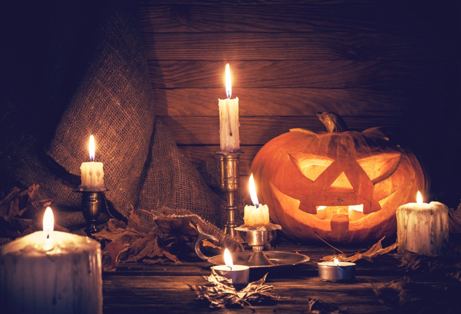 Laeacco Halloween Pumpkin Lamp Candles Board Baby Photography Backgrounds Customized Photographic Backdrops For Photo Studio Photo Studio Background