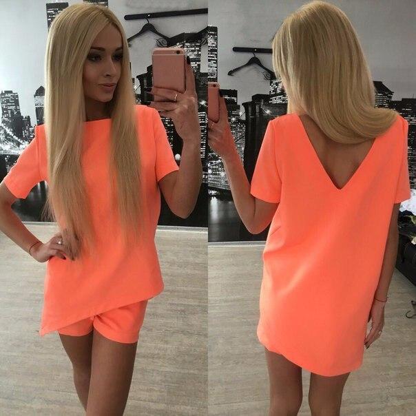 Повседневная женщины устанавливает одежда 2 шт. топ футболка и шорты лето женщины устанавливает моды soild цвет женщины костюм