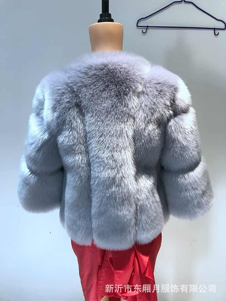 Vestidos de Sari indios vestido indio Sari 2017 algodón Invierno Caliente nueva chaqueta de piel de zorro de imitación manga siete abrigo de costura femenina