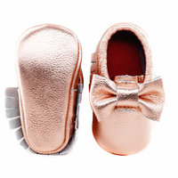 New Double Bow Shine Genuine Leather Baby Moccasins Butterfly Knot First Walkers Soft Baby Shoes Toddler