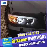 Novo Estilo de Carro para BMW X5 E53 Faróis 2004-2006 para BMW X5 Head Lamp LED DRL Auto Dupla h7 feixe HID Xenon bi xenon lente