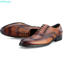 Brand Brogues Mens Dress Shoes Oxfords 100% Genuine Leather Fashion Handmade Designers Formal Italy Business