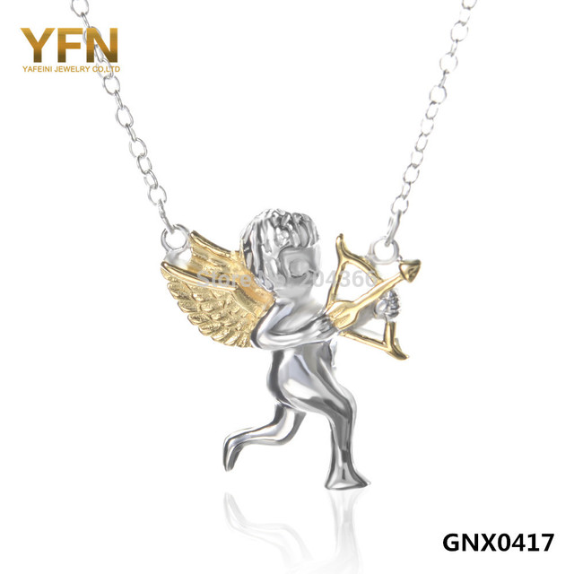 "YFN 2016 GNX0417 Fashion Necklace For Women 2015 New 925 Sterling Silver Jewelry Cupid Angel Necklace Collares Mujer 18"" Collier"