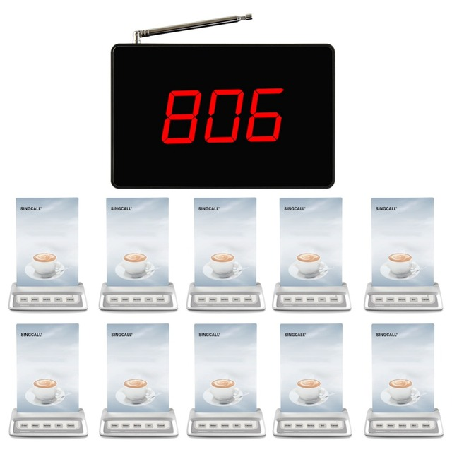 Singcall sem fio chamando system, sistema de chamada de 10 três botões-chave do hotel e 1 pequeno receptor fixo com grande tela para cafe
