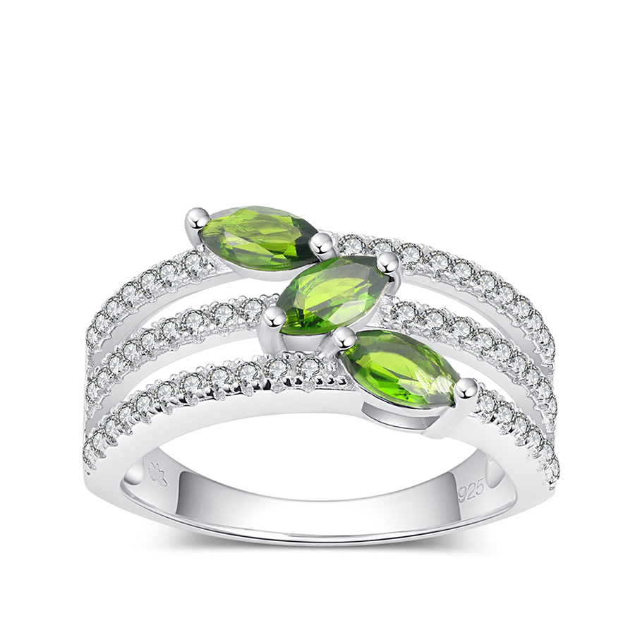 PJC Natural Gemstone 6*3mm 0.77cts Marquise Shape Chrome Diopside With 0.52cts White Topaz 925 Sterling Silver Rings