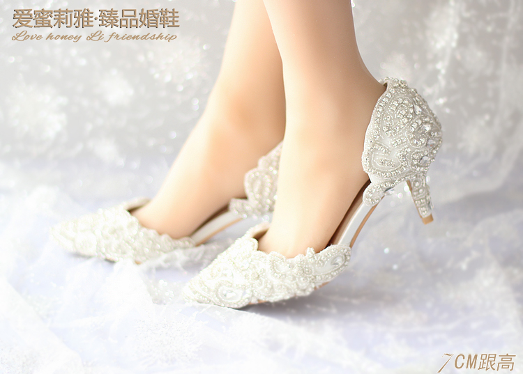 Dream cuicanduomu Rhinestone Wedding Shoes High Heels Pointed Toe Bridal  Shoes Elegant Thin Heels Female Wedding Shoes 7CM Pumps-in Women s Pumps  from Shoes ... 7d2af008f231