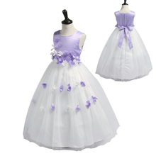 Free Shipping Ankle Lenght Girl Party Dress 2019 New Arrival Child Pageant Dresses patchwork Flowers Kids Evening Gowns Lavender new wedding party purple formal flowers girl dress baby pageant dresses birthday cummunion toddler kids evening gowns custom