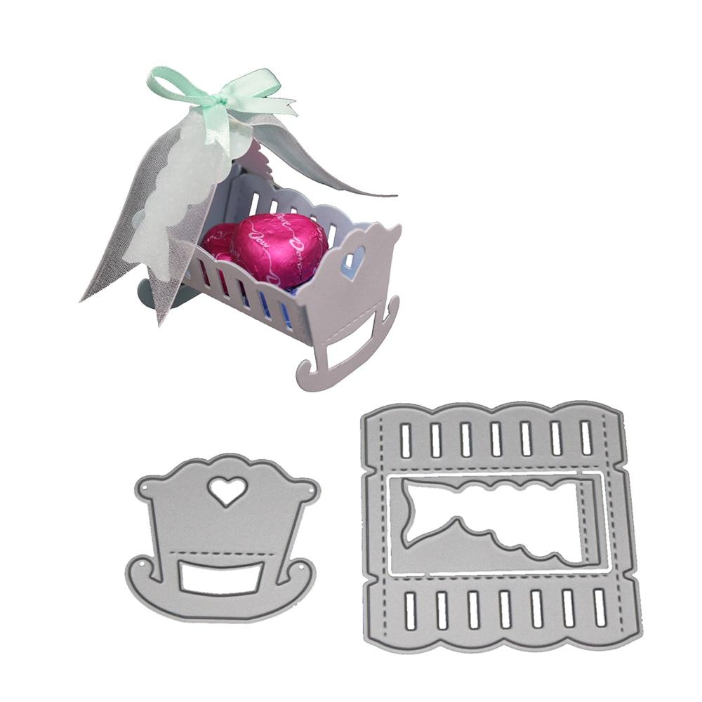 Hemere 3D Combination Infant Cradle Bed Frame Metal Steel Cutting Dies for DIY Scrapbooking photo Invitation Card Embossing Die