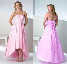 2015 Stylish Spaghetti Strap Pink High/Low Ruched Bridesmaid Dresses With Big Bow Back Special Occasion Dresses Vestidos Longos