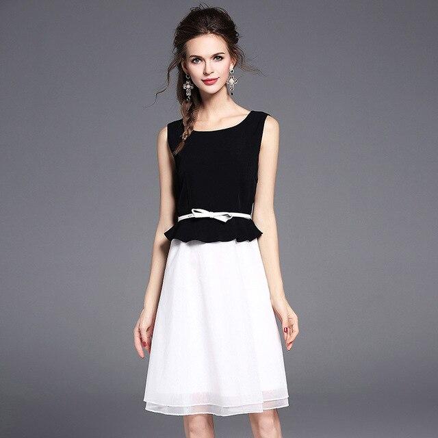 Черный и белый мозаика сетки кружева a-line dress женская шифон рукавов о-образным вырезом органзы dress для 2017 лето леди dress подарок пояс