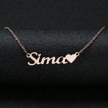 4bb0c79eaebe Personalizado nombre personalizado Collar para las mujeres personalizado  cursiva placa hecha a mano collar de mejor amigo regalo de cumpleaños