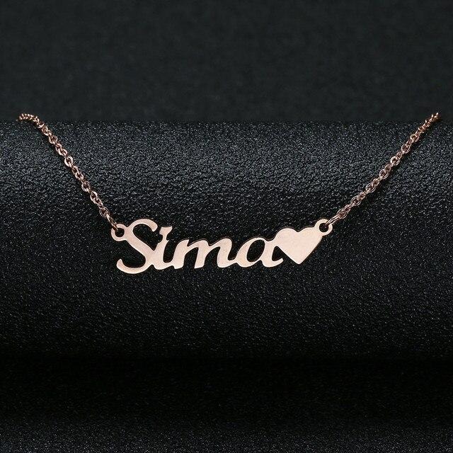 caf43d3d5f29 Personalizado nombre personalizado Collar para las mujeres personalizado  cursiva placa hecha a mano collar de mejor