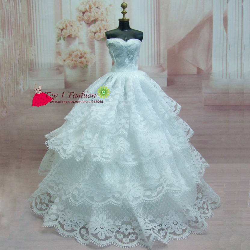 Assortment luxurious elegant lace marriage ceremony costume for FR doll for Barbie doll white marriage ceremony costume