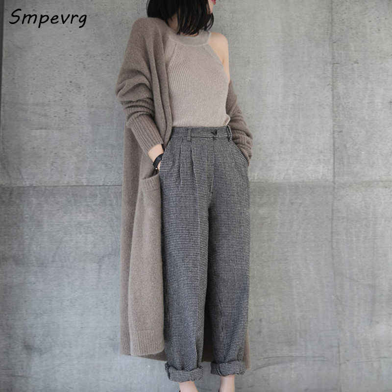Smpevrg autumn winter new women sweaters and cardigans long cashmere sweaters women cardigans knitted V neck thick warm overcoat