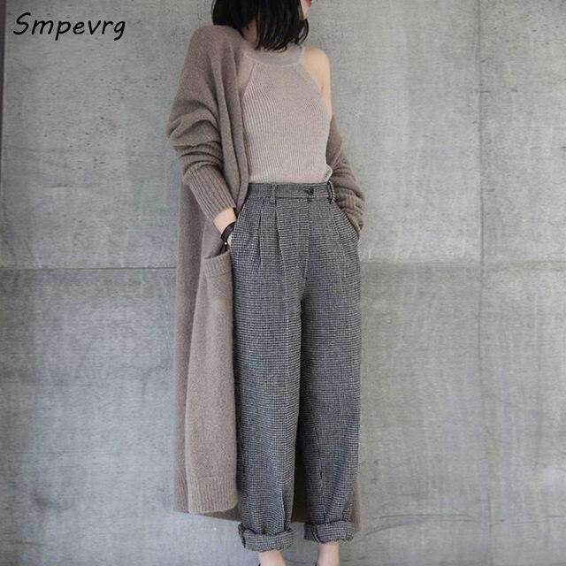 Smpevrg herfst winter nieuwe vrouwen truien en vesten lange kasjmier truien vrouwen vesten gebreide v-hals dikke warme overjas