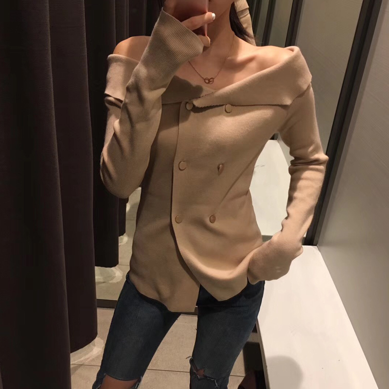 2018 spring new knit sweater female long sleeve word collar hedging double button retro knitted sweater women