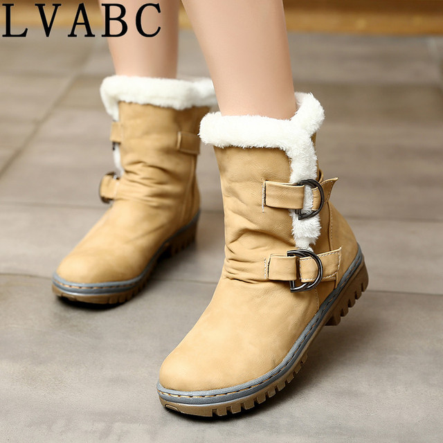 LVABC 2018 جديد fashionboots مشبك يصل مثير كعوب منخفضة مريحة جودة عالية الشتاء النساء الأحذية حجم 34-46