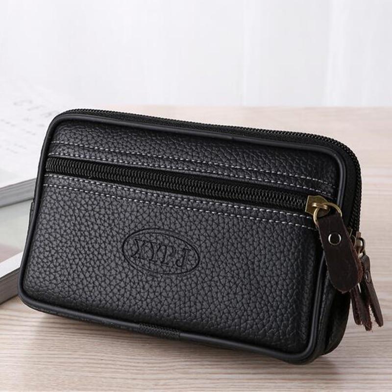 LKEEP Mobile Phone Waist Pack For Men Testificate Bag Leather Coin Purse Strap Pocket Cellphone Bag Clutch Bag Belt Waist Pouch