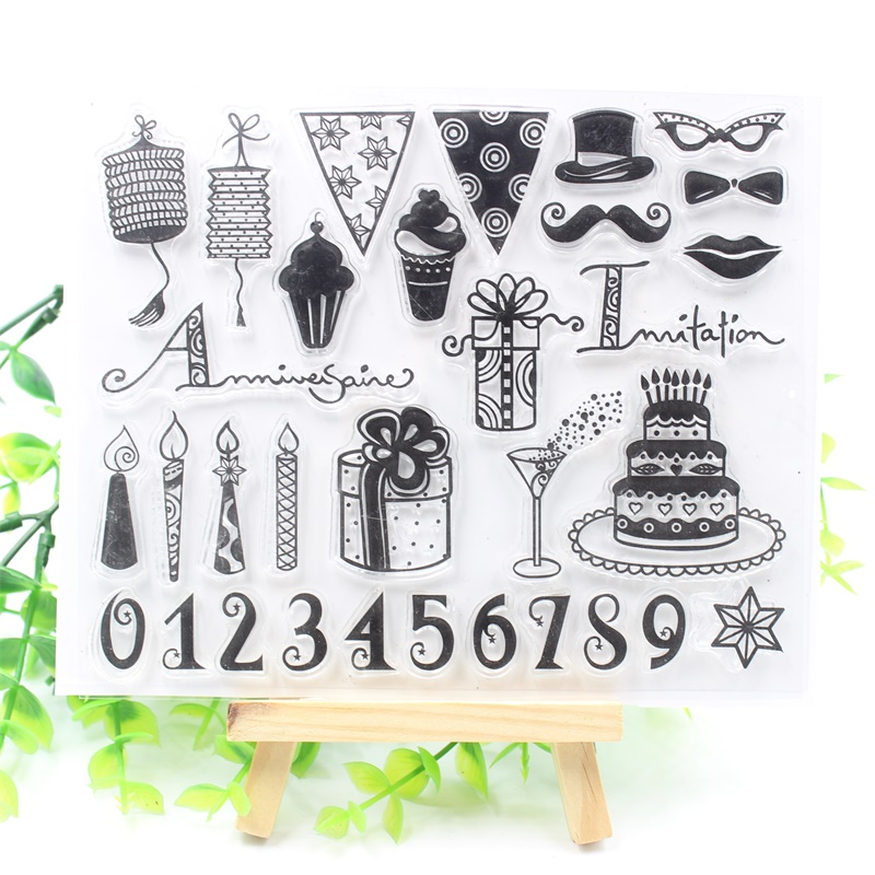YPP CRAFT Birthday Party Transparent Clear Silicone Stamps for DIY Scrapbooking/Card Mak ...