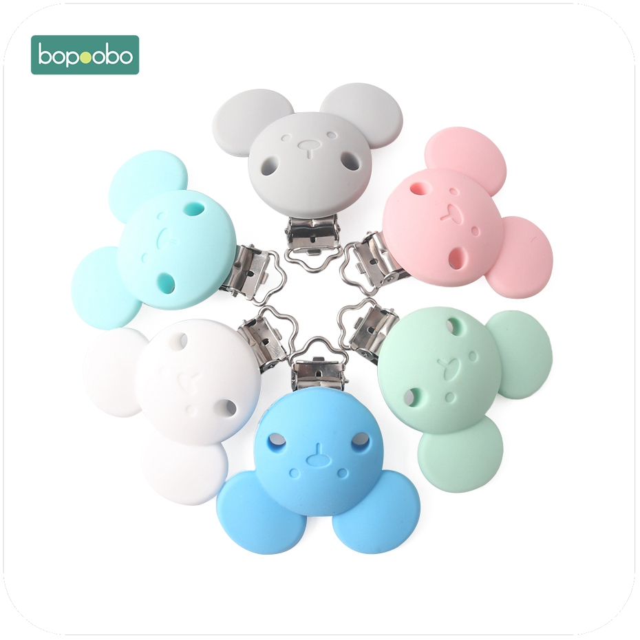 Bopoobo 1PC Lovely Bear Silicone Mouse Pacifier Clip Baby Teether Teething Accessories DIY Crafts Pacifier Holder Safe Teether