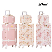 Letrend Retro Suitcase Wheels Men Rolling Luggage Spinner Pink Trolley Student Travel Bag Women Carry On Luggage Set Trunk