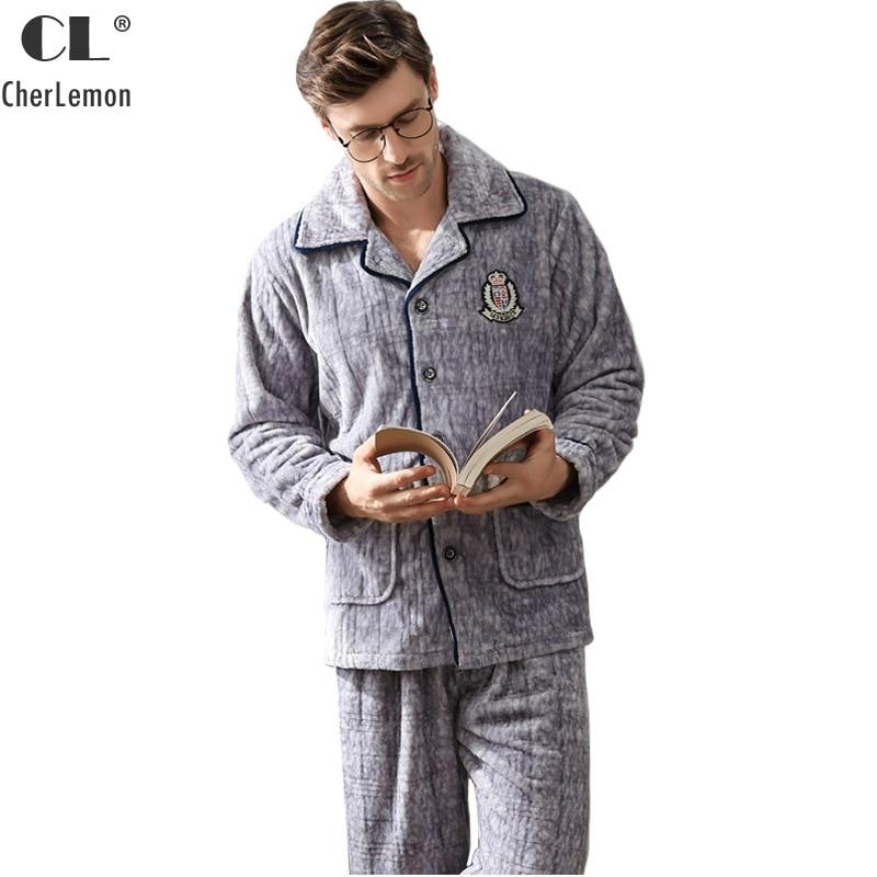 CherLemon Ultra Soft Warm Cosy Winter Luxury Flannel Fleece Pajamas Nightwear Mens Thick Warm Pyjama Set Male Thermal Sleepwear