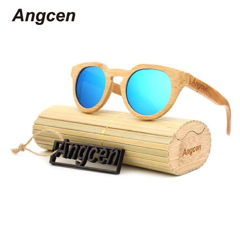 Angcen السيدات نظارات المرأة العلامة التجارية مصمم النظارات المستقطبة خمر الخشب الخيزران البيضاوي النظارات الشمسية ليلا ونهارا القيادة