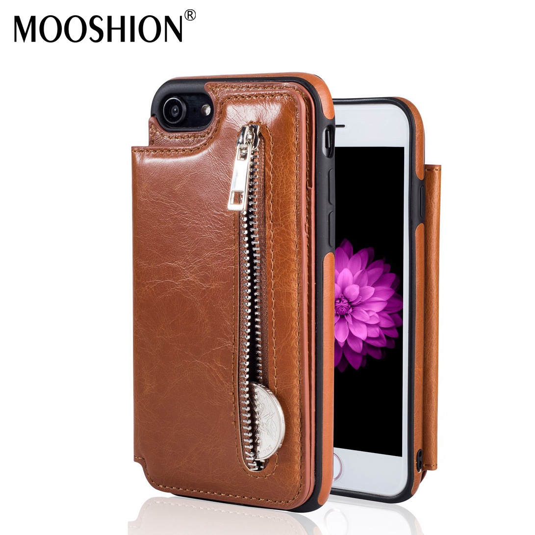 MOOSHION Leather Case For iPhone 8 7 6s CASE Zipper Wallet Magnet Back Cover Flip Case For For iPhone 8 Plus 6 7plus Phone Case