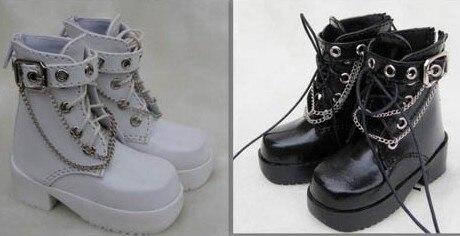 1/3 1/4 erkek çocuk kız kadın SD AOD KÖPEK BJD MSD Dollfie Sentetik Deri PU ayakkabıları siyah beyaz kahverengi ayakkabı YG039