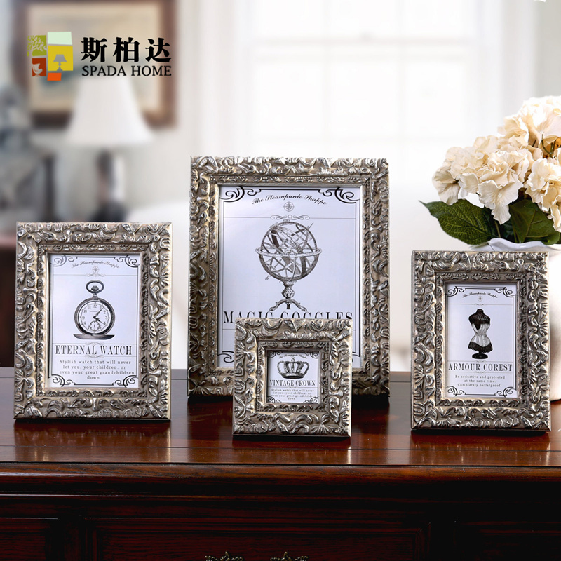 Brand Vintage Style Creative Photo Frame Gesso Resin Wood Grain Fashion Ornaments Photo Frames Home Accessories for Table Decor