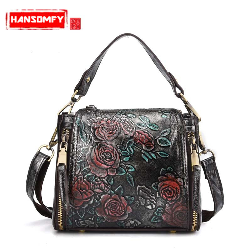 2018 New cowhide leather Women handbag fashion female retro flowers embossed suede genuine leather ladies Messenger bag все цены