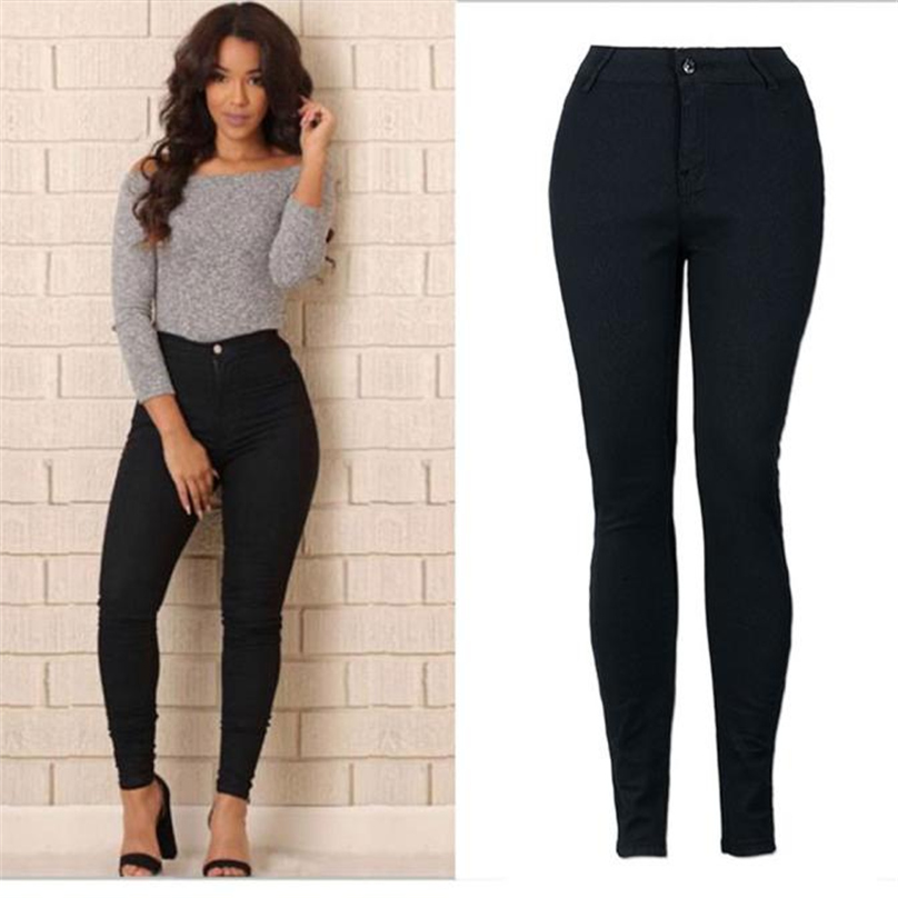 Black Trousers  2017 Women Pencil Stretch Casual Denim Skinny Jeans Pants High Waist Trousers   suitable Size MAR27