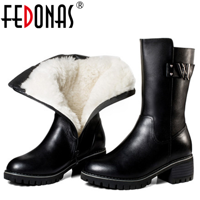 FEDONAS Women Genuine Leather Boots Thick Wool Warm Shoes Best Quality For Women Snow Boots Keep Warm Mid-calf High Heels Boots
