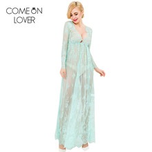 RL80302 Comeonlover New one size sexy night dress embroidery autumn wear long perspective sexy dress beautiful sexy sleepwear