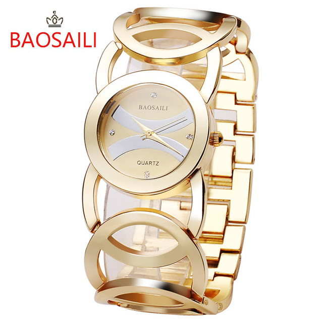 JW089 BAOSAILI Brand Imitation Gold Plated Circles Strap Stainless Steel Back Sh