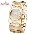 JW089 BAOSAILI Marca Imitación Oro Plateado Círculos Correa Volver Shinning Mujeres de Acero Inoxidable Relojes de Moda Reloj de Pulsera