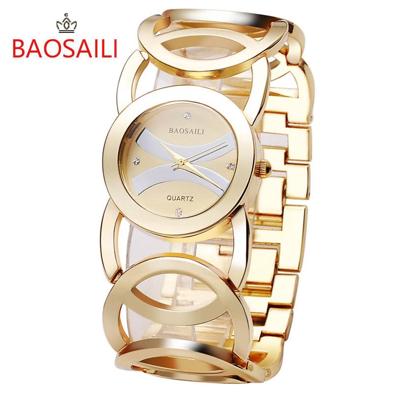 Prix pour JW089 BAOSAILI Marque Imitation Or Plaqué Cercles Bracelet En Acier Inoxydable Retour Shinning Femmes Montres Mode Montre-Bracelet