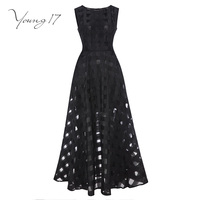 Young17 16 אורגנזה השמלה החדשה ארוך מקסי לנשים משובצות הקיץ שמלת יום סאטן Vestidos דה Festa נשים שחורות סגנון אופנה שמלות