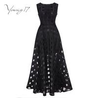 Young17 16 Maxi D'été Plaid Femmes Robe Nouvelle Longue Organza jour Robe Robes De Festa Satin style De Mode noir femmes robes