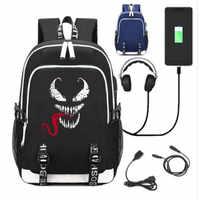 Venom WOW Game Backpack Bag Rucksack w/ USB Fashion Port and Lock / Headphone Anime Book SchoolBag Laptop Gifts