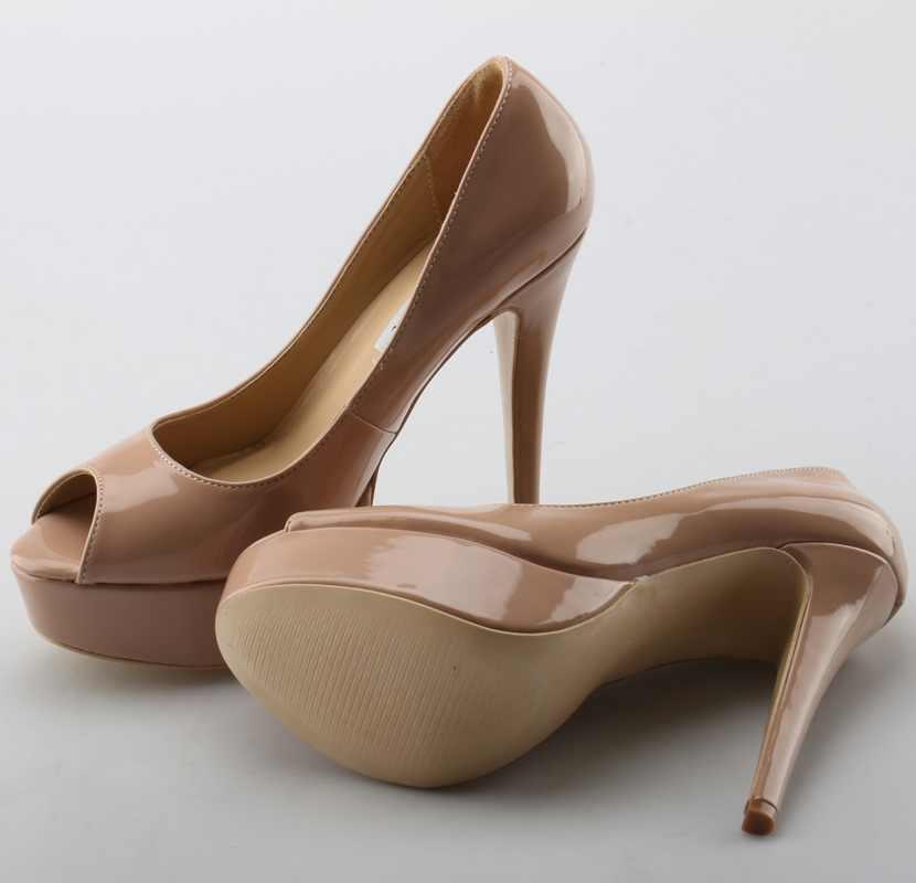 2018 Super moda mujer plataforma alta 14CM tacones altos Sexy Peep Toe charol señoras elegantes zapatos de fiesta envío gratis