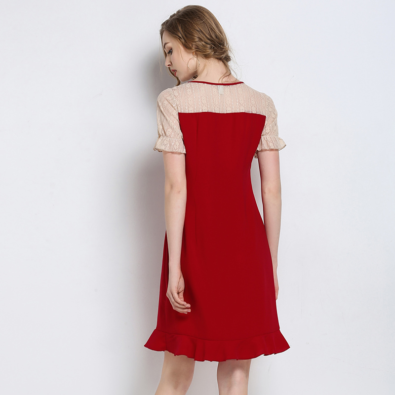 Woman Lace Patchwork Party Red Summer Dresses 2018 Plus Size