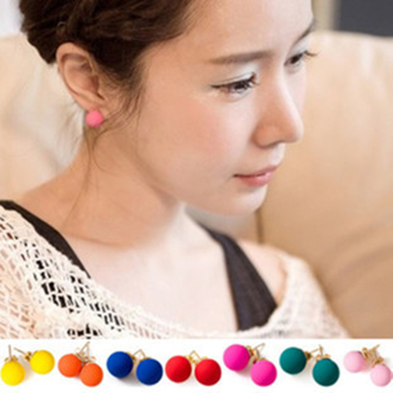 Brincos Wholesales Fashion Cheap Colored Frosted Cute Candy Ball Stud Earrings For Women Mix Color Order Jewelry Accessories